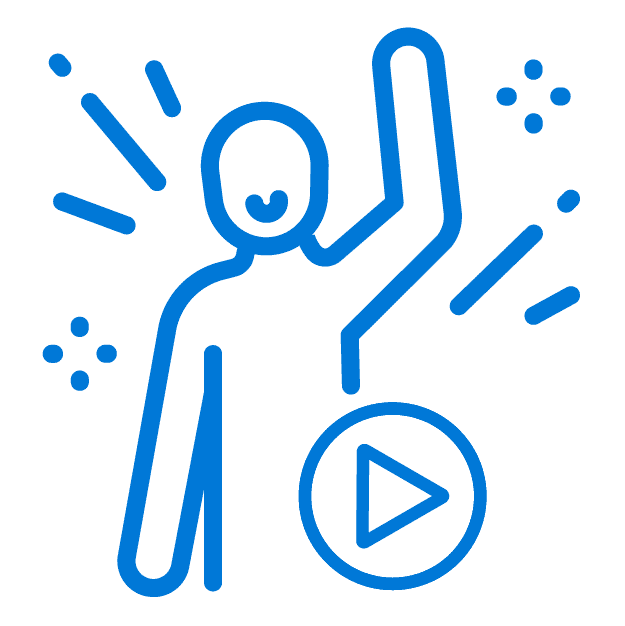 Blue outline of a stick figure person waving with a video play button under them indicating that attendees are creating their own content