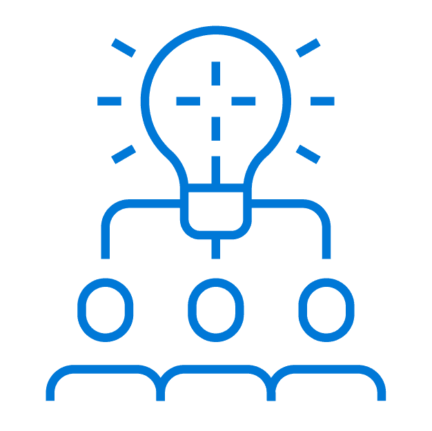 Blue outline of 3 stick figure people with a lightbulb overhead indicating that likeminded attendees are connected