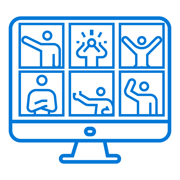 Blue outline of a desktop monitor with six stick figure people hanging out in a virtual happy hour