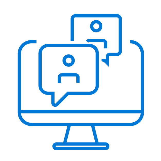 Blue outline of a desktop monitor with two stick figure people with chat bubbles indicating a virtual meeting