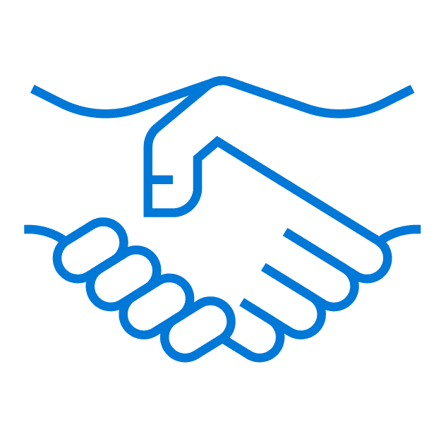 Blue outline of two hands shaking indicating a virtual event sponsor shaking hands with a new customer